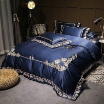 Navy Blue Embroidered Tropical Hawaiian Floral Border Luxury Villa Simply Shabby Chic Satin Full, Queen Size Bedding Sets