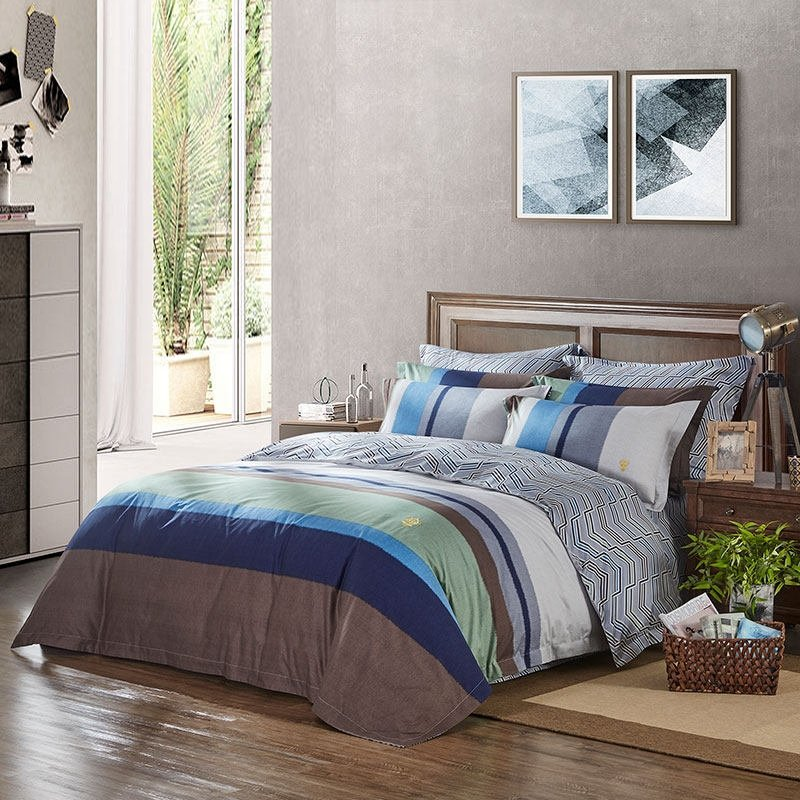 Teen Boys Aqua Blue Brown Gray And White Rugby Stripe Print Simply Masculine Full Queen Size Bedding Sets Enjoybedding Com,Beautiful Small House Designs Pictures South Africa