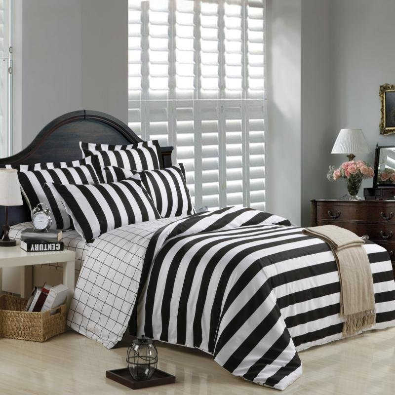 Black and White Ticking Zebra Stripe and Plaid Print Modern Design Full, Queen Size Bedding Sets