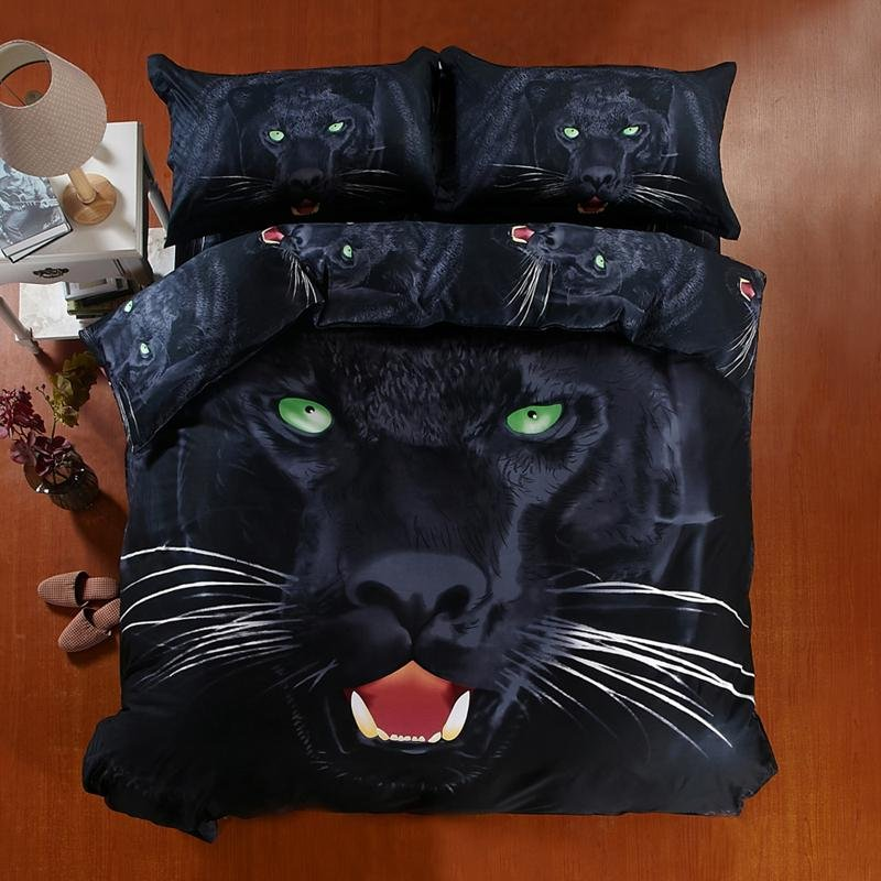 Luxury Solid Black Pure Color Leopard Print Jungle Animal Themed Full Size Kids Boys Bedding Sets