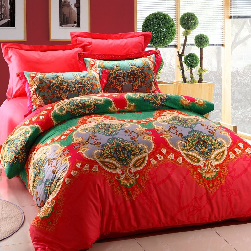 Red and Green Unique Indian Tribal Print 100% Cotton Full, Queen Size Bedding Comforter Cover Sets