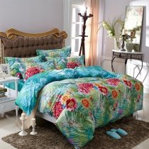 Aqua Blue Green and Red Tropical Fern Botany and Flower Print Sun Seed Fresh World Style 100% Cotton Full, Queen Size Bedding Sets