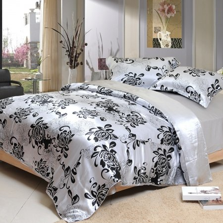 Black and Silver Grey Abstract Retro Floral Cheap 100% Organic Mulberry Silk Satin Full, Queen Size Bedding Sets