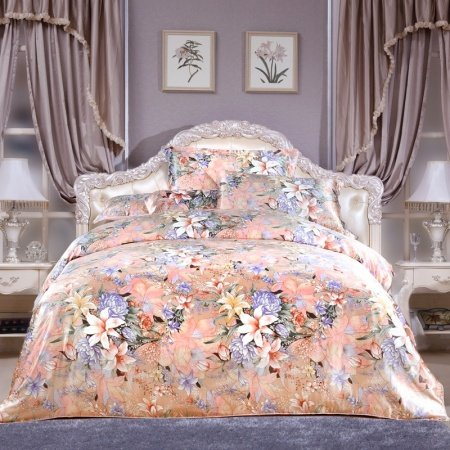 Soft Pink Floral Abstract Retro Cheap 100% Organic Mulberry Silk Satin Full, Queen Size Bedding Sets