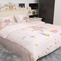 Pink Rustic Chic Floral and Love Birds Print Girls Cheap 100% Organic Mulberry Silk Satin Full Size Bedding Sets