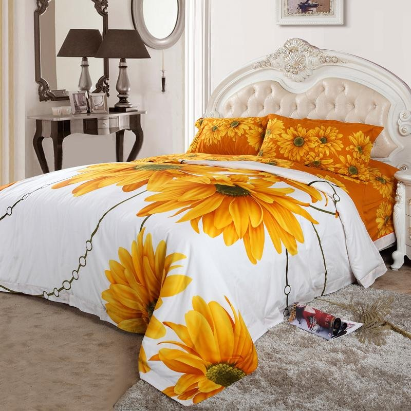 Yellow White and Orange Sunflower Blossom Print Full, Queen Size Bright Colorful 100% Cotton Bedding Sets