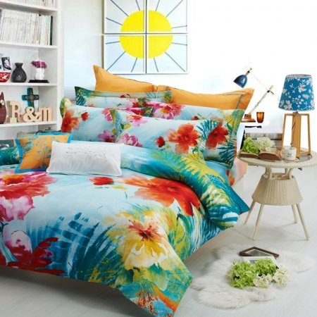 Teal Blue Red and Yellow Abstract Tropical Floral Unusual 100% Cotton Satin Full, Queen Size Bedding Sets