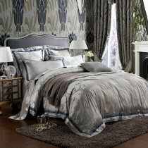 Classic Retro Grey Rustic Chic Simply Jacquard Design Full, Queen Size Bedding Sets