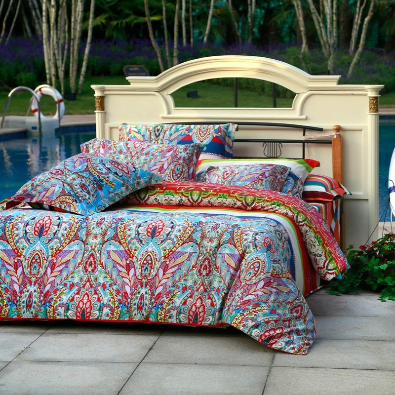 Aqua Blue Green and Red Colorful Bohemian Tribal Print Luxury 100% Egyptian Cotton Full, Queen Size Bedding Sets