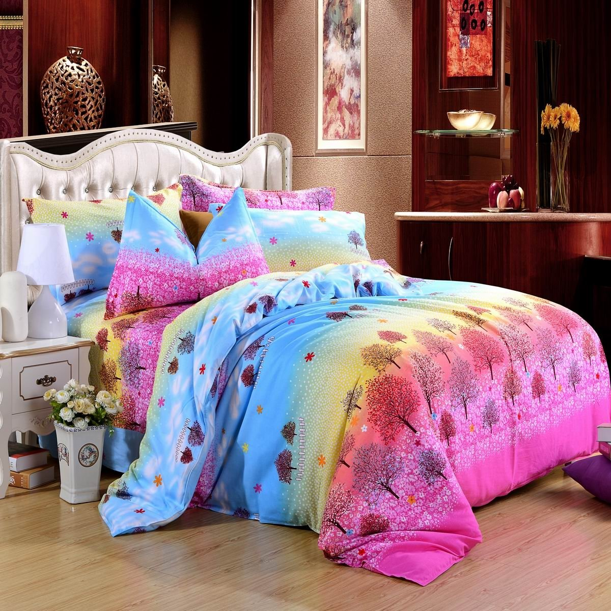 Aqua Blue Pink and Yellow Birch Tree Print Bright Colorful Rustic Scene 100% Brushed Cotton Full, Queen Size Bedding Sets