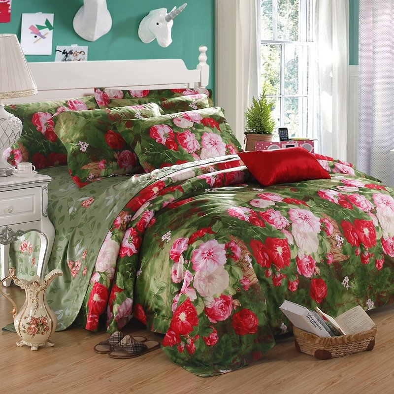 Green Red and Pink Tropical Nature Floral Garden Gorgeous Jungle Safari Themed Vintage Chic Full, Queen Size Bedding Sets