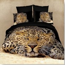 Black and Brown 3D Leopard Print Animal Jungle Safari Themed Sexy Kids and Teen Boys Twin, Full Size Bedding Sets