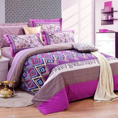 Violet Brown and White Fashion Grid Print Geometric Shabby Chic Abstract Design Unique Full, Queen Size 100% Brushed Cotton Bedding Sets