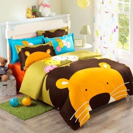 Orange Brown Blue and Yellow Cartoon Lion King Print Jungle Safari Animal Girls and Boys 100% Cotton Twin, Full Size Bedding Sets