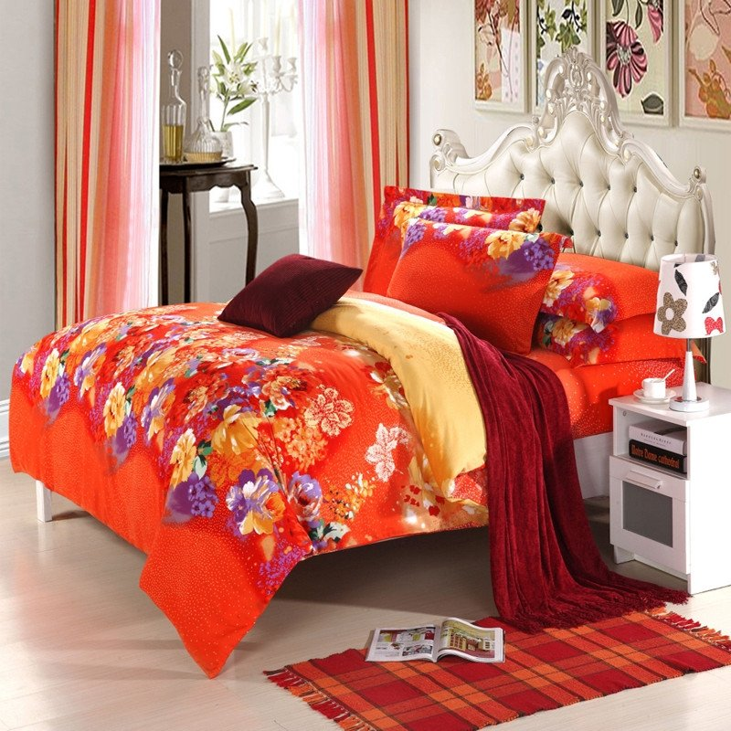 Deep Orange Purple and Yellow Oriental Peony Blossom Print Modern Chic Colorful Full, Queen Size Bedding Sets
