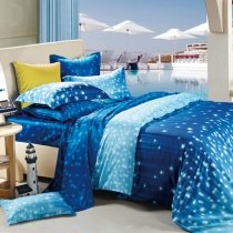 Cobalt Blue White and Light Blue Galaxy Scene Star Print Kids Bedroom Damask Full, Queen Size Bedding Sets