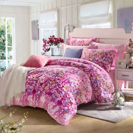 Red-violet and Pink Oriental Flower Spring Garden Plant Vintage Country Chic Asian Inspired Warm Color 100% Tencel Full, Queen Size Bedding Sets
