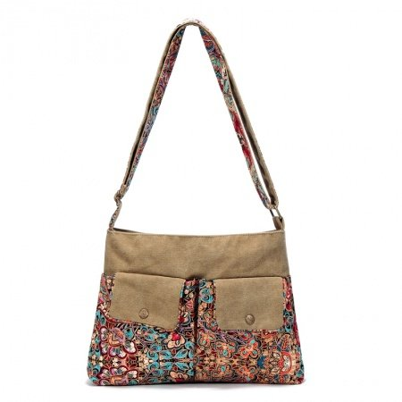 Raw Umber Brown Blue and Red Canvas Bohemian Mediterranean National Style Floral Print Party Women Take Cover Evening Tote Bag Crossbody Bag