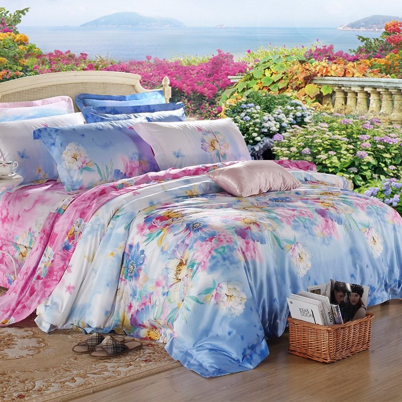 Sky Blue Peach and White Spring Blossom Tropical Garden Images Oriental Style Luxury Girls 100% Egyptian Cotton Full, Queen Size Bedding Sets