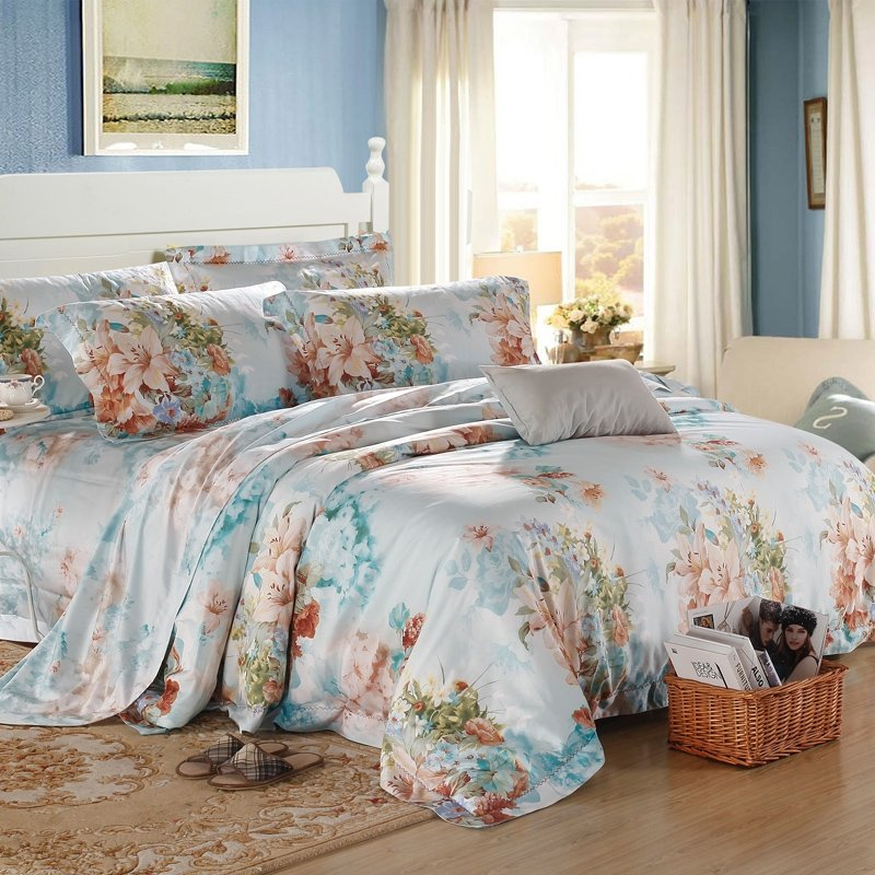 Light Teal Champagne and Green Lily Blossom Print Asian Inspired Nature Oriental Style Luxury 100% Egyptian Cotton Full, Queen Size Bedding Sets