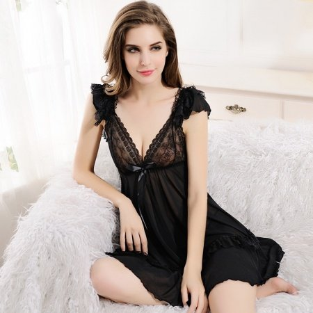 Black Breathable Chiffon Sexy See-through Seductive Lace Avant-garde Falbala Ruffled V-neck Backless Wide Straps Skirt Thong Women Pajamas