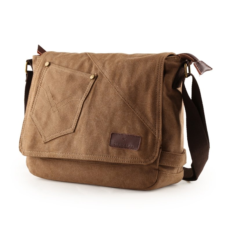 Coffee Brown Canvas Messenger Bag Contracted Personalized Crossbody ...