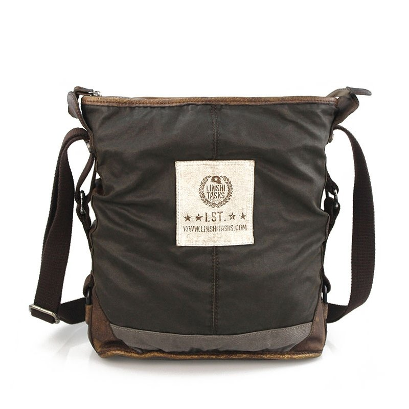 Chocolate Brown Vintage Korean Style Canvas Crossbody Bag Mitoshop Monogram Zipper Applique Sewing Pattern Men Medium Single Shoulder Bag