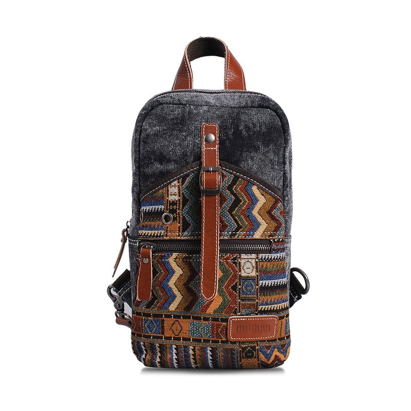 Gray and Burnt Canvas Bohemian Gypsy National Style Chest Bag Amazing Chevron Stripe Zipper Embroidery Sewing Pattern Small Crossbody Bag