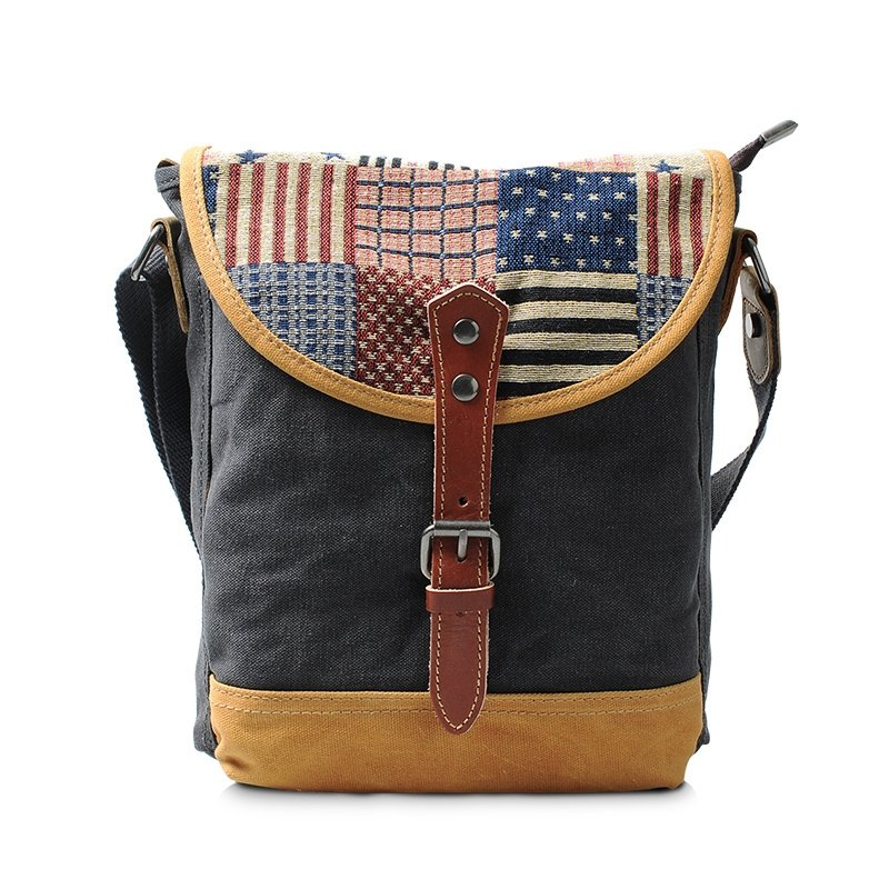 Charcoal Grey Canvas Crossbody Bag Casual Personalized Vogue American Flag The Stripes and Stars Men Small Take Cover Single Shoulder Bag