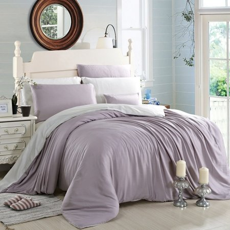 Thistle and Pale Grey Plain Colored Retro Style Simply Chic Luxury 100% Modal Tencel Lyocell Full, Queen Size Bedding Sets