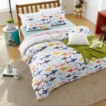 Pink Blue and Orange Bright Colorful Sharks Print Undersea World Marine Life Unique 100% Cotton Kids Twin, Full Size Bedding Sets