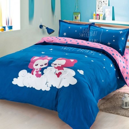 Blue Red and White Fox Print Cartoon Themed Star and Monogrammed Simply Chic Unique 100% Cotton Damask Full, Queen Size Bedding Sets