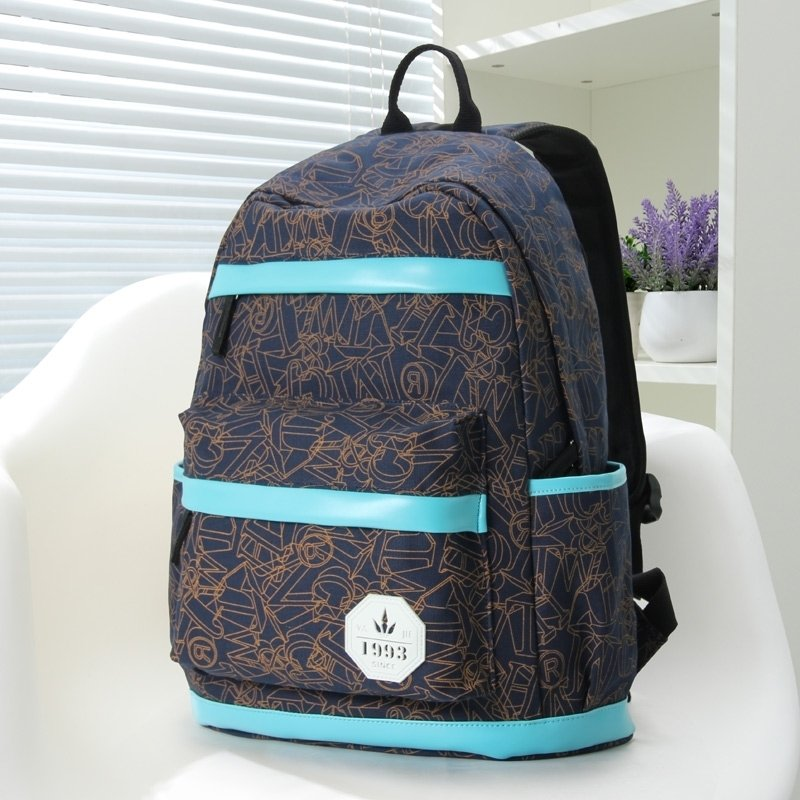 Dark Blue and Brown Canvas with Aqua Trim Korean Style School Backpack Geometric Pattern Monogrammed Women Girls Printed Travel Bag