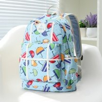 Aqua Blue and Colorful Canvas with White Leather Trim Unusual Umbrella Printed Cute Girls School Backpack Vogue Korean Style Travel Bag