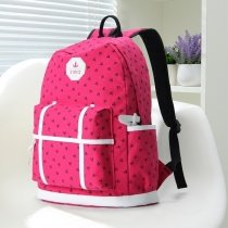 Rose Red and Black Canvas with White Leather Trim Elegant Cute Girls School Backpack Sewing Pattern Anchor Printed Vogue Travel Bag