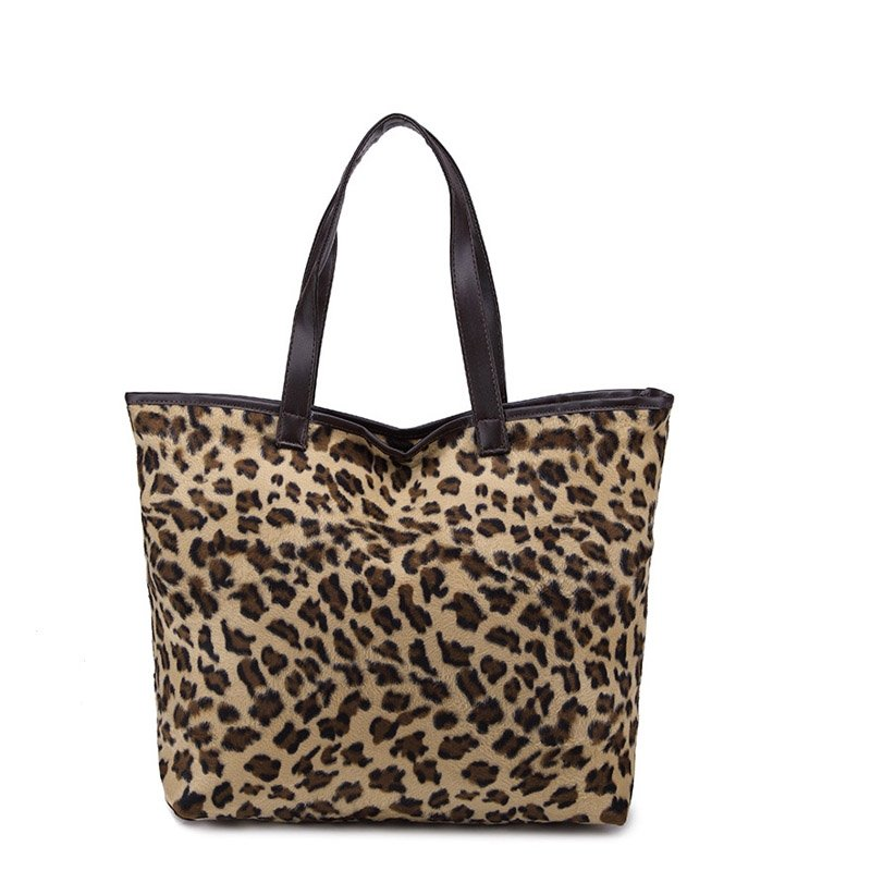 Coffee Brown and Khaki Luxury Velvet Tote Bag Oversized Boutique Japanese Style Leopard Print Casual Women Large Shoulder Purse