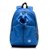 Solid Azure Blue Durable Water-proof Oxford Boys School Backpack Book Bag Fine Contracted Korean Style Travel Bag