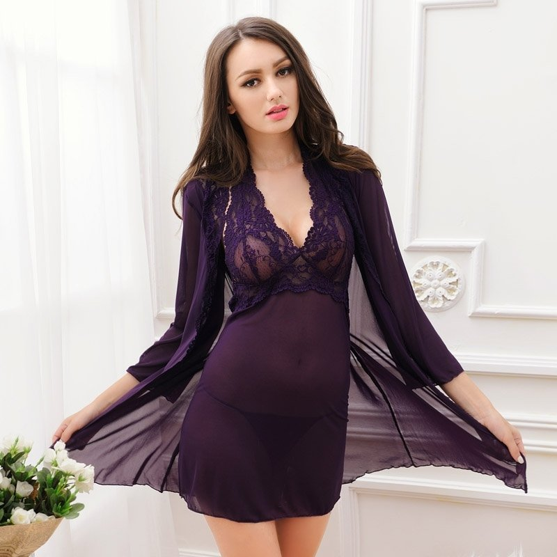 Deep Purple Sexy Transparent Seductive See-through Embroidered Halter Top Deep V Wide Straps Long Sleeve M L Pajamas