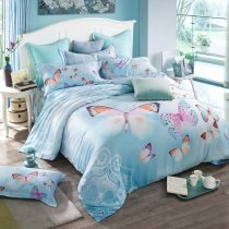 Baby Blue Purple and Orange Beautiful Butterfly Cute Girly Themed Elegant 100% Tencel Full, Queen Size Bedding Sets