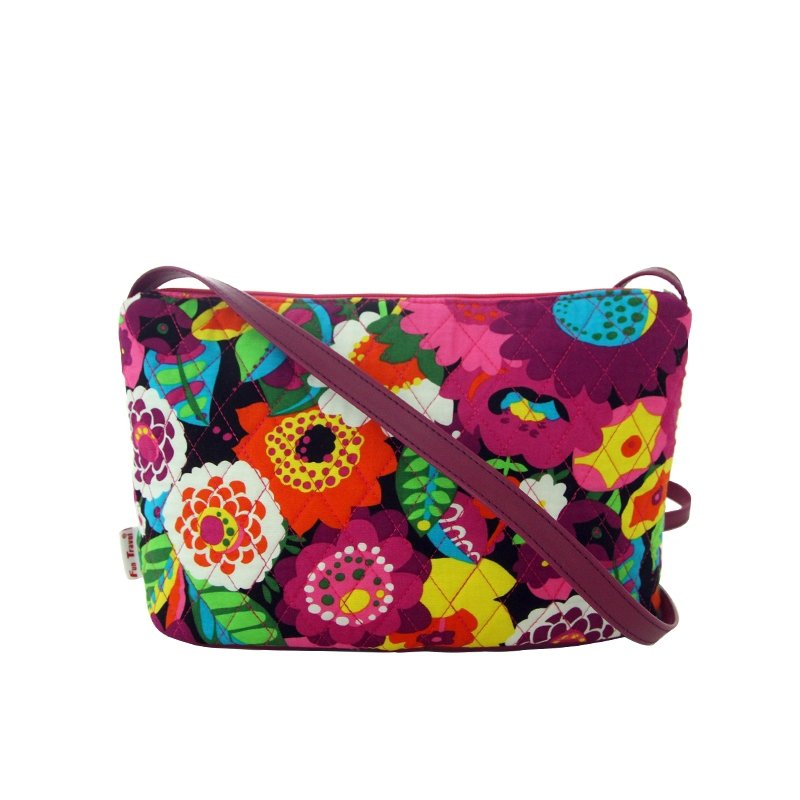 Durable Canvas Stylish Colorful Garden Floral Lady Small Diamond Makeup Bag Gorgeous Casual Shopping Party Crossbody Shoulder Bag