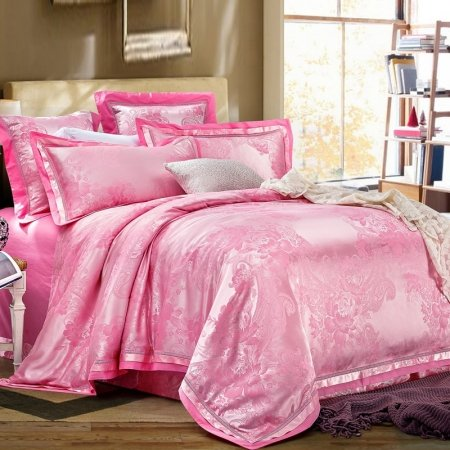 Hot Pink Antique Yorkshire Rose Pattern Elegant Princess Style Noble Excellence Luxury Jacquard Design Full, Queen Size Bedding Sets