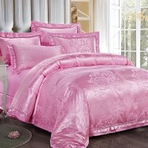 Rose Pink Yorkshire Rose Pattern Royal Palace Style Elegant Noble Excellence Western Style Jacquard Linen Full, Queen Size Bedding Sets