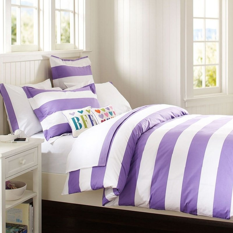 Amethyst Purple and White Girls Rugby Stripe Elegant Feminine Style Hotel Style 100% Cotton Twin, Full, Queen Size Bedding Sets