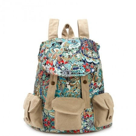 Personalized Durable Canvas Girls Preppy School Book Bag Colorful Bohemian Tribal Vintage Rosemary Bucket Drawstring Flap Backpack