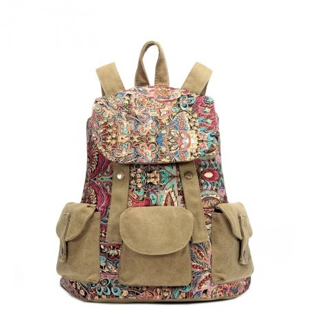 Personalized Colorful Canvas Women Bucket-shaped Drawstring Flap Backpack Bohemian Tribal Vintage Floral Preppy School Book Bag