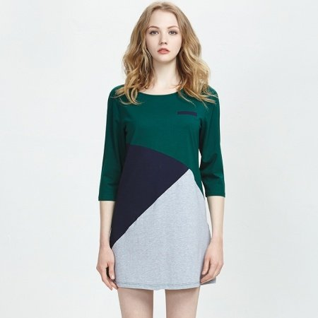 Grey Blue Green Color Block Girls Sexy Contracted Geometric Cotton Spandex Spring Summer Dress L XL XXL Outerwear Pajamas