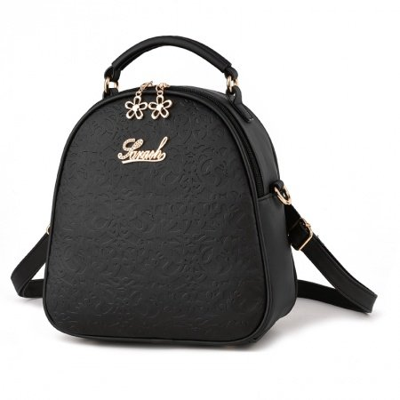 Simply Chic Black Durable Embossed Faux Leather Women Small Crossbody Shoulder Handle Bag Vintage Floral Casual Hiking Travel Backpack