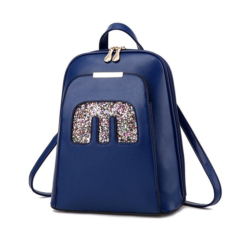 Water-proof Plain Dark Blue Faux Leather Lady Casual Hiking Travel Backpack Durable Trend Sewing Pattern Preppy School Book Bag