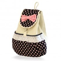 Black Beige Polka Dot with Cute Bow Lace Ruffle Girls Preppy School Book Bag Durable Canvas Casual Travel Flap Drawstring Backpack