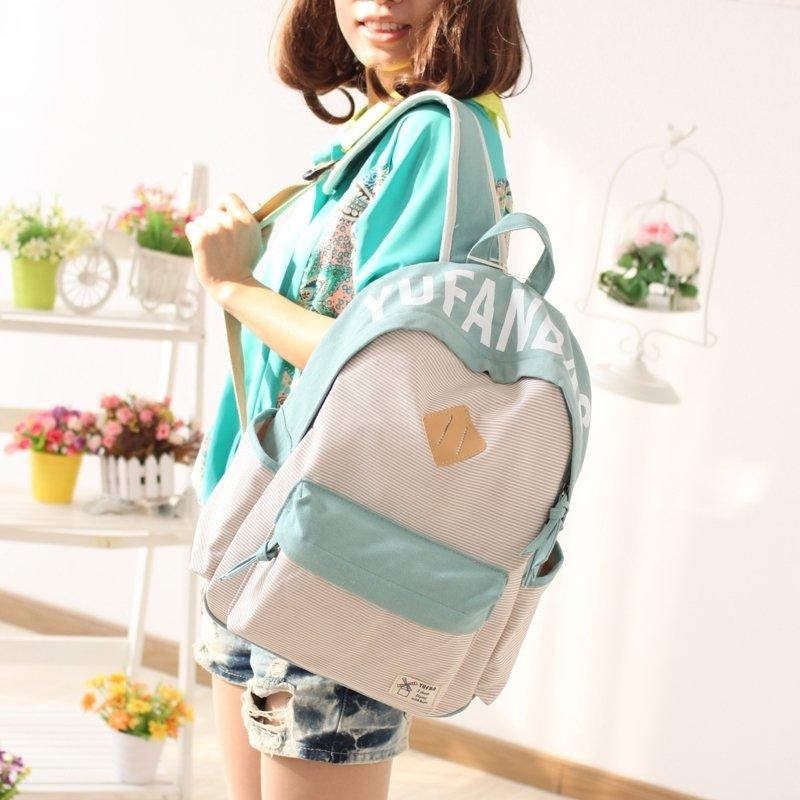 Durable Light Pink Pea Green Canvas Girly Senior School Backpack Girls Preppy Book Bag Trend Pinstripe Hiking Travel 14 Inch Laptop Bag